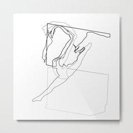 Line Art - Woman Dancing Metal Print