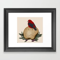 Bird on a Log Framed Art Print