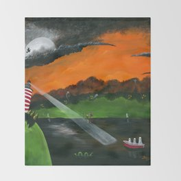 Hilly Haunted Lighthouse Throw Blanket