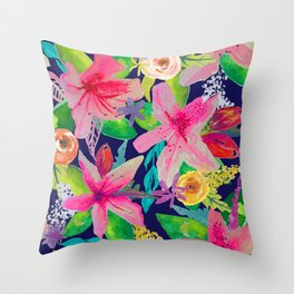 Neon Azeleas // Navy Throw Pillow