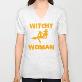 Witchy Woman Funny Halloween Witch Shirt Unisex V-Neck