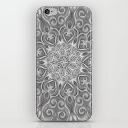 Gray Center Swirl Mandala iPhone Skin