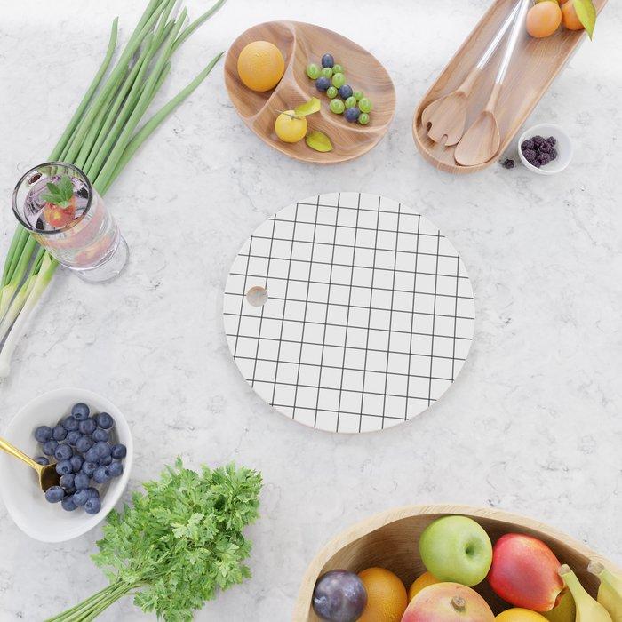Grid Stripe Lines Black and White Minimalist Geometric Cutting Board
