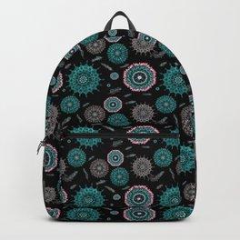 Boho black smaller turquoise mandalas Backpack