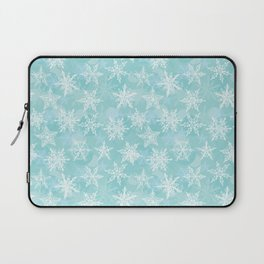 blue winter background with white snowflakes Laptop Sleeve