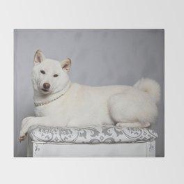 Cream Shiba Inu Dog Throw Blanket