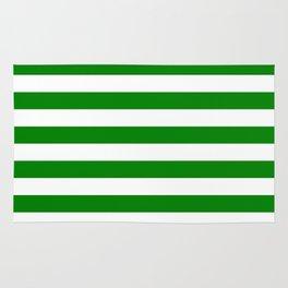 Narrow Horizontal Stripes - White and Green Rug