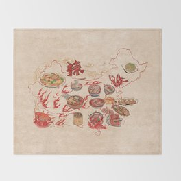 Famous Spicy Chinese Cuisine Throw Blanket
