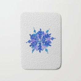 WATERCOLOR SNOWFLAKE 4 - blue and purple palette Bath Mat