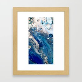 Blue Marbled Fluid Painting Unique Swirls Water Framed Art Print