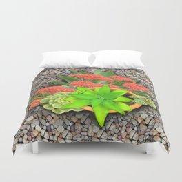Flowering Crassula Perfoliata Duvet Cover