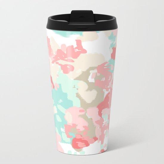 Florence - abstract trendy colors gender neutral seaside coral tropical minimal mermaids Metal Travel Mug