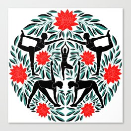 Yoga Girls Illustration with Lotus Flowers and Leaves // Red and Green Canvas Print