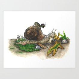 Little Worlds: Snail and Cricket Art Print