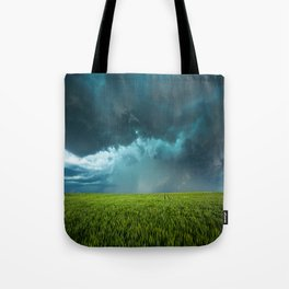 April Showers - Colorful Stormy Sky Over Lush Field in Kansas Tote Bag