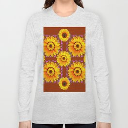CINNAMON COLOR YELLOW SUNFLOWERS ART Long Sleeve T-shirt
