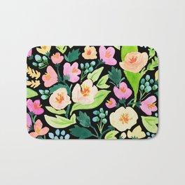 Watercolor Florals on Black Bath Mat