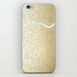 Gold on White London Street Map II iPhone Skin