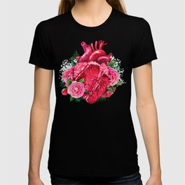 Watercolor heart with floral design T-shirt