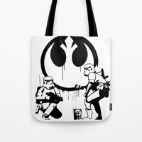 banksy Tote Bags featuring Banksy Troopers by Don Calamari