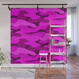 Outrageous Neon Hot Pink Camo Pattern Wall Mural