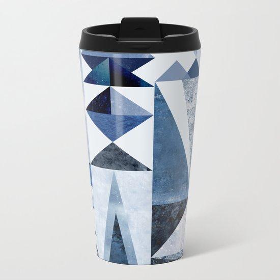 Blue Shapes Metal Travel Mug
