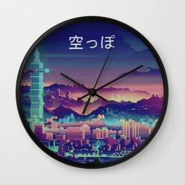 Vaporwave Japanese City Wall Clock