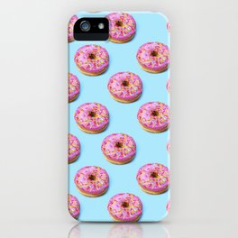 Flat lay donuts seamless pattern iPhone Case