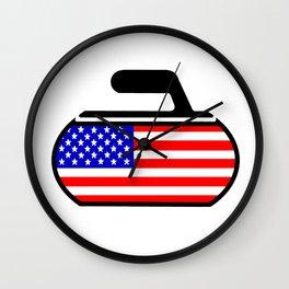 USA Curling Wall Clock