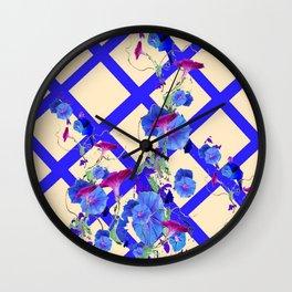 BLUE MORNING GLORIES & BLUE-CREAM LATTICE  DESIGN Wall Clock