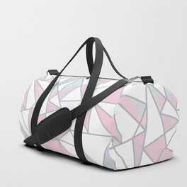 Modern white pink teal watercolor geometrical shapes Duffle Bag