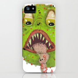 green monster with flies comic horror iPhone Case