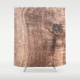 Scrapped Wood Cross Section Cut Gritty Woody Grain Detail Shower Curtain