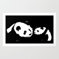 pandas Art Prints featuring Pandas by Elena Medero