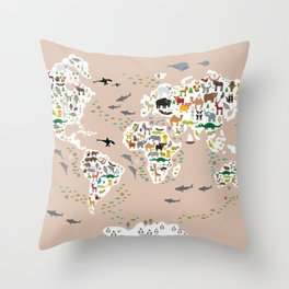 Cartoon animal world map, back to school. Animals from all over the world rosybrown background Throw Pillow