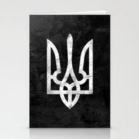 ukraine Stationery Cards featuring Ukraine Black Grunge by Sitchko Igor
