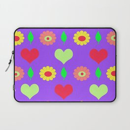Purple daisy and heart all over print Laptop Sleeve