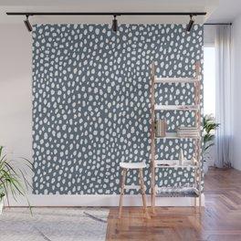 Handmade polka dot brush spots (white and slate gray/blue) Wall Mural