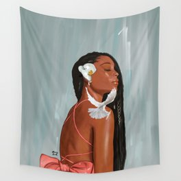 Girl in a bow Wall Tapestry