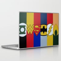 justice league Laptop & iPad Skins featuring Justice Logo's by iankingart