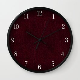 Claret leather sheet texture abstract Wall Clock