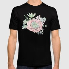 Pink Succulents by Nature Magick Black Mens Fitted Tee MEDIUM