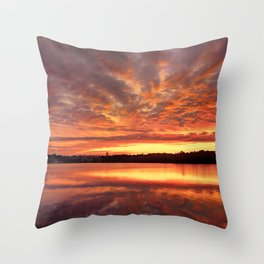 Red Burning Sky Throw Pillow