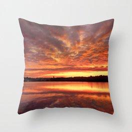 Red Burning Sky Throw Pillow