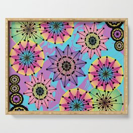 Vibrant Abstract Floral Pattern Serving Tray