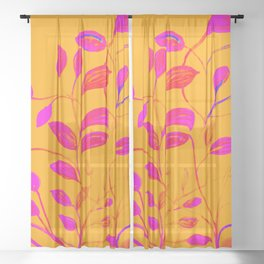 Peaches and Cream Red Leaves Sheer Curtain