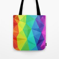 low poly Tote Bags featuring rainbow low poly by tony tudor