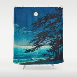 Vintage Japanese Woodblock Print Moonlight Over Ocean Japanese Landscape Tall Tree Silhouette Shower Curtain