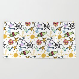 Bright and Cheerful Seaside Beach Pattern Beach Towel