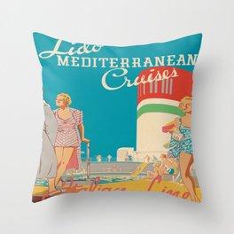 Retro Cruise Ship Deck Throw Pillow